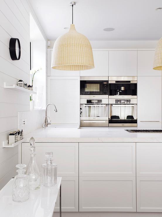 White Modern Kitchen with Ikea Light Pendants  Modern