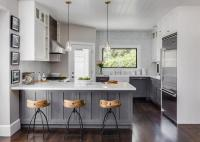 Gray Distressed Kitchen Cabinets with Marble Herringbone ...