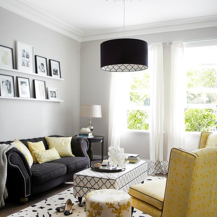Yellow and Black Living Room with Black and White Trellis
