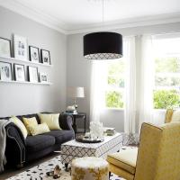 Yellow and Black Living Room with Black and White Trellis ...