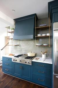 Blue Kitchen Cabinets with Wood and Brass Shelves ...