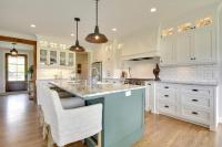 White Beadboard Kitchen Cabinets with Oil Rubbed Bronze ...