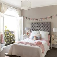 Pink and Gray Girls Bedroom with Banner Over Bed ...