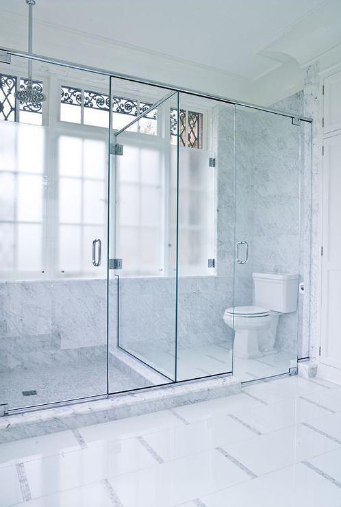 Glass Enclosed Water Closet  Transitional  Basement