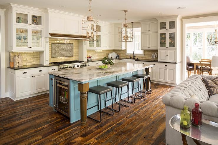 Turquoise Blue Kitchen Island With Glass Front Beverage Fridge Cottage Kitchen