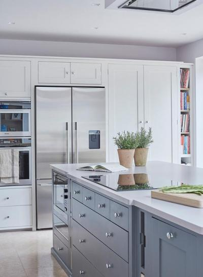 Blue Kitchen Island with Induction Cooktop - Contemporary ...
