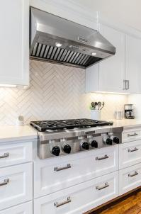 White Herringbone Kitchen Backsplash Tiles - Transitional ...