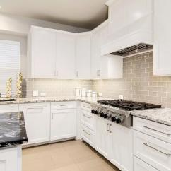 Panda Kitchen Cabinets Black Faucet White Shaker With Gray Glass Tiles ...