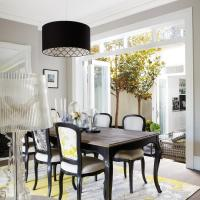 Yellow and Black Dining Room with French Dining Table ...
