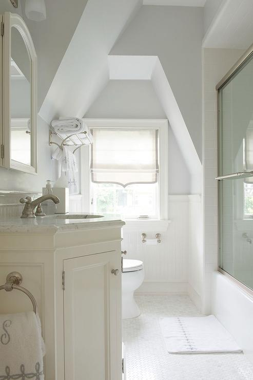 Ivory Attic Bathroom with Gray Accents  Transitional