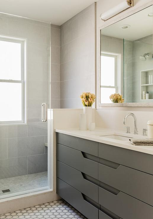 Modern Gray Washstand with Hex Tile Floor  Modern  Basement