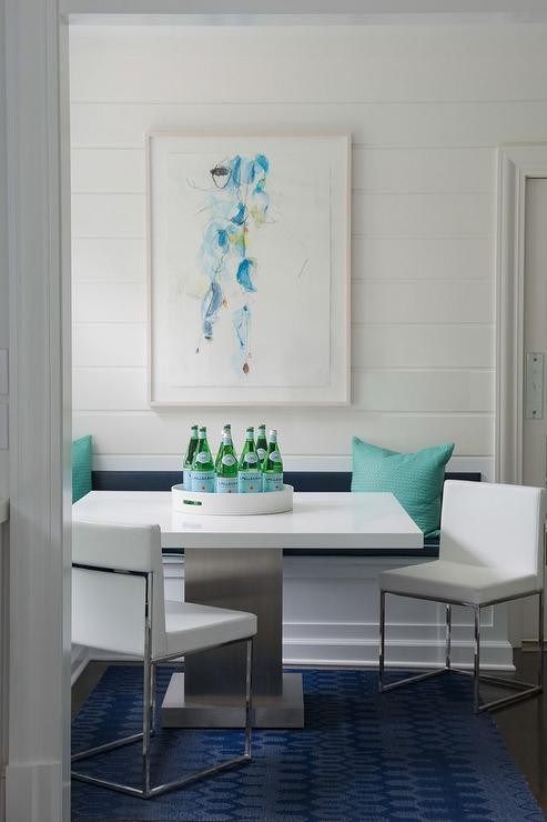 Turquoise And Navy Dining Nook With Built In Banquette