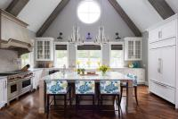 Kitchen with Vaulted Gray Ceiling and Wood Beams ...