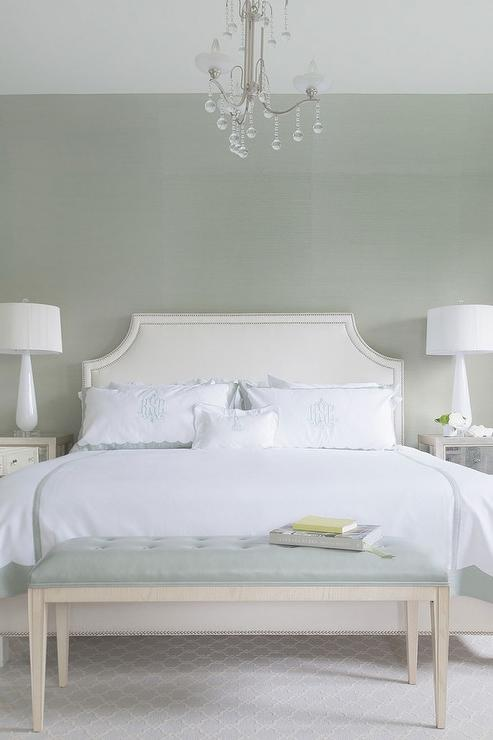 White And Gray Green Bedroom With Crystal Droplets Chandelier Over Bed