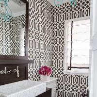 Brown Powder Room with Imperial Trellis Wallpaper ...