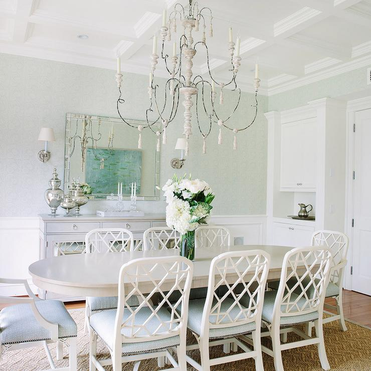 White and Gray Dining Room with Gray Mirrored Buffet Cabinet  Transitional  Dining Room