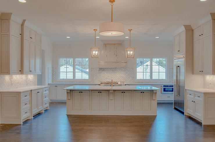 White Distressed French Kitchen Hood with Marble Arabesque Tiles  Cottage  Kitchen