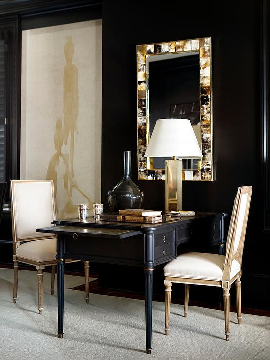 Black and Gold Office with Shared Black French Desk