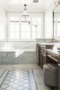 Brown and Gray Bathroom with Clear Beaded Chandelier over