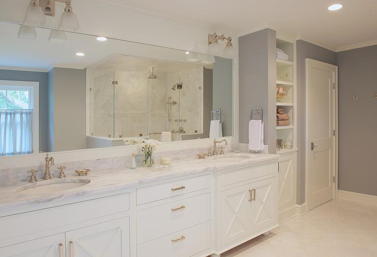 White and Gray Master Bathroom with X Front Vanity