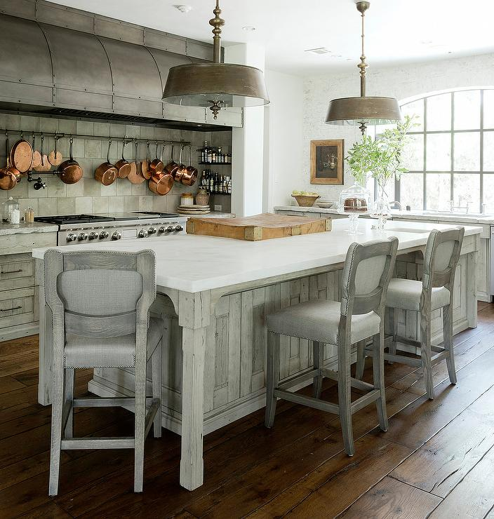 Gray French KItchen with Steel Barrel Hood  Transitional