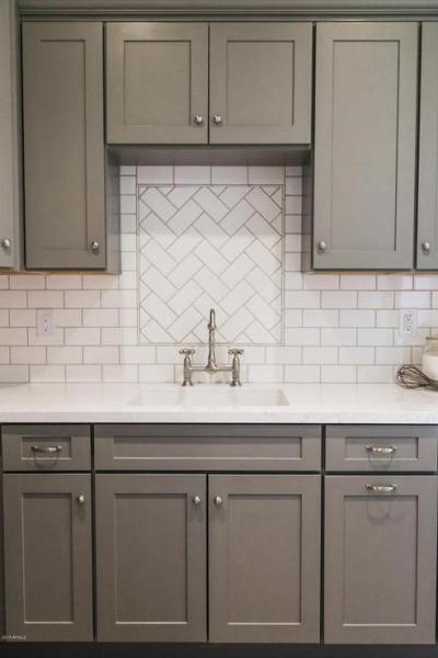 white kitchen cabinets with subway tile backsplash Gray Shaker Kitchen Cabinets with White Subway Tile