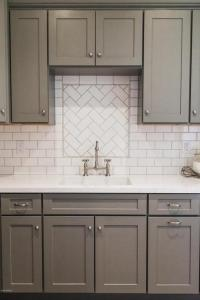 Gray Shaker Kitchen Cabinets with White Subway Tile ...