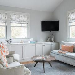 Corner Tv Living Room Ideas Paint Colour 2018 With Gray Wall Mount Over Built In Media Cabinets Contemporary
