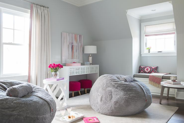 Pink and Gray Teen Girl Bedroom Design  Contemporary  Girls Room