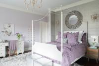Purple and Gray Teen Girl Bedroom with White Canopy Bed ...