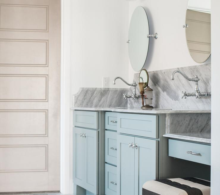 Turquoise Blue Vanity with Carrera Marble Countertop and