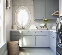 L Shaped Laundry Room with Gray Cabinets - Contemporary ...