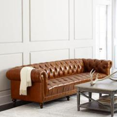 Dwellstudio Chester Sofa Left Facing Sectional Sleeper Tufted Leather - West Elm