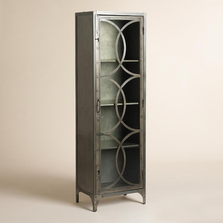 Silver Metal and Glass Half Circle Eriksen Curio Cabinet