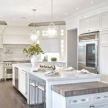White Kitchen Island With Wood And Marble Countertops Transitional Kitchen