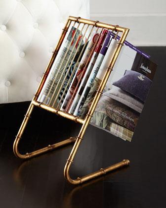 gold bamboo magazine rack