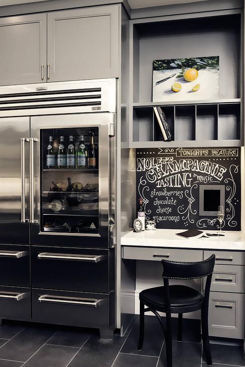 kitchen desk inexpensive flooring gray with chalkboard backsplash contemporary
