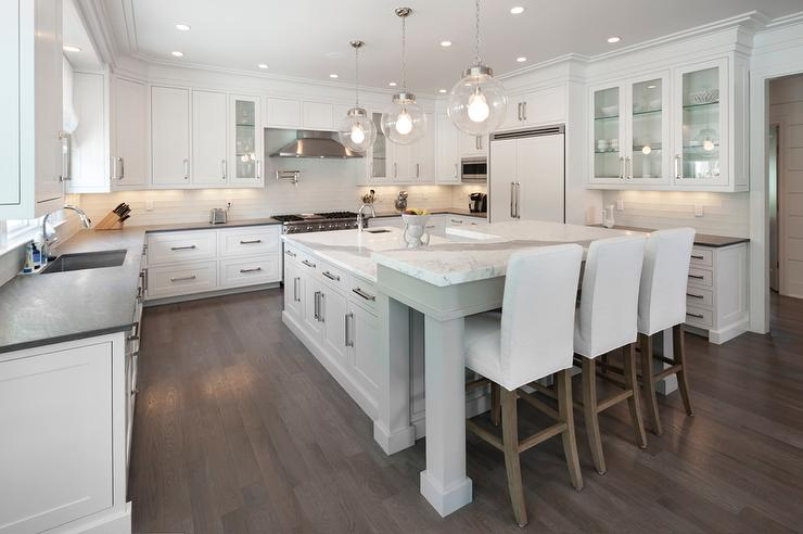 Gray KItchen Island With L Shaped Breakfast Bar Transitional Kitchen
