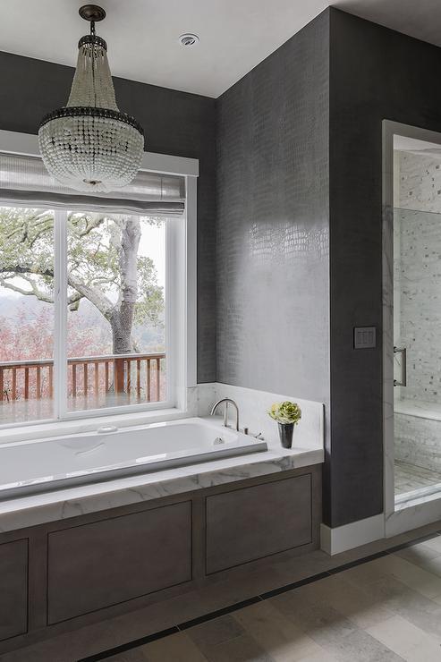 Robert Abbey Bling Chandelier Over Tub  Transitional  Bathroom