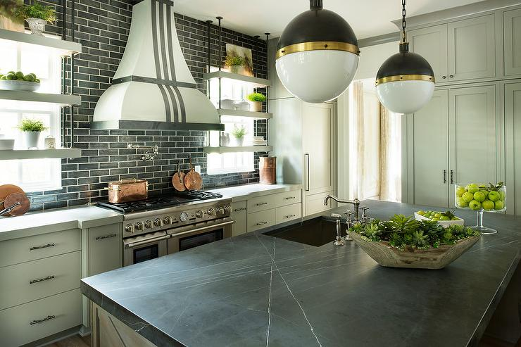 White Kitchen Cabinets With Light Gray Island Pietra Gray Marble On Kitchen Island - Contemporary - Kitchen