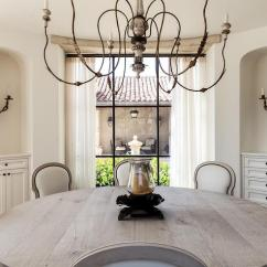 White Wooden Kitchen Chairs Corner Cupboard Ideas Round Mediterranean Dining Room With Arched Alcoves ...
