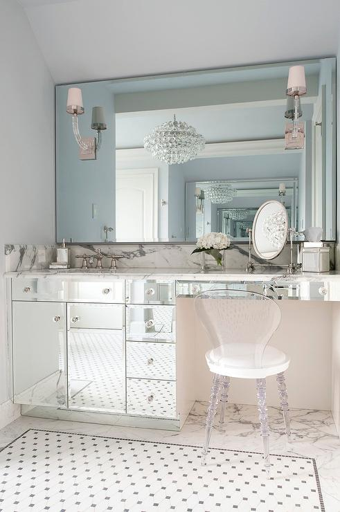 glass top makeup vanity with acrylic z