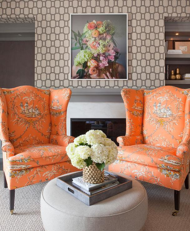 orange upholstered chair and tent rentals gray living room with toile wingback chairs contemporary