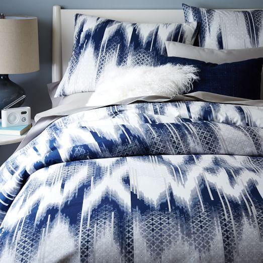 Organic Ikat Grey and Blue Diamond Duvet Cover and Shams