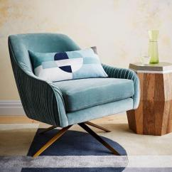 Green Velvet Swivel Chair Ikea Recliner Roar And Rabbit Blue Lichen
