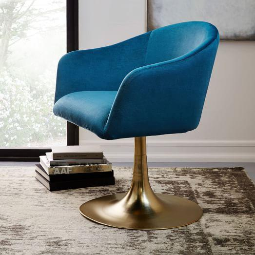 Celestial Blue Bond Upholstered Swivel Chair