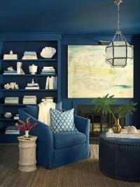Fireplace with Blue Bookcase