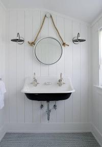 Black and White Cottage Bathroom with Rope Mirror ...