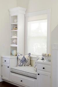 Cottage Home Office with Built In Window Seat and Blue ...