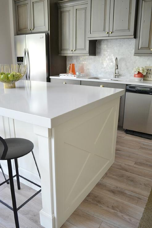 ivory Kitchen Island with X Panels  Transitional  Kitchen